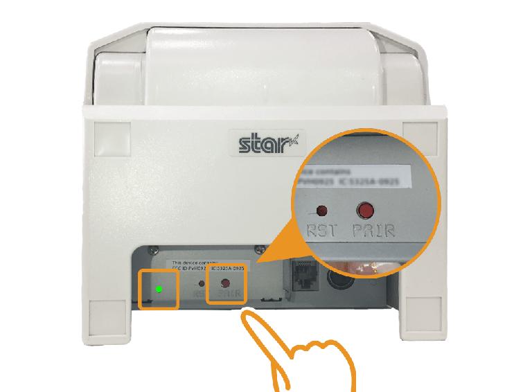 スター精密据え置きプリンター:PAIRボタンを押す