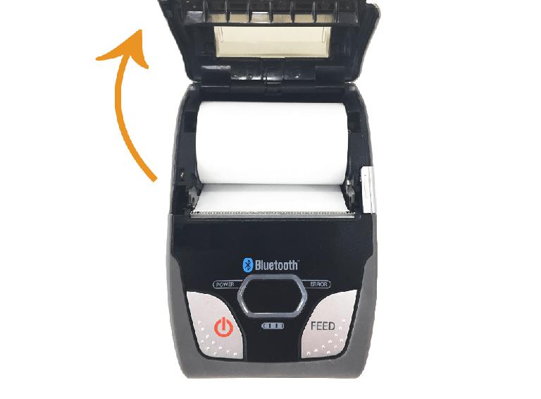 スター精密・モバイルレシートプリンター:レシートプリンターカバーを開ける