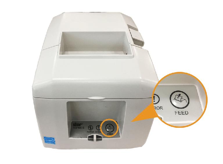 スター精密据え置きプリンター:FEEDボタンを押す