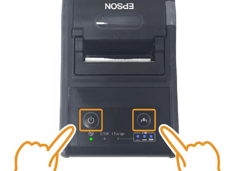 エプソンモバイルプリンター:Feedボタンを押しながら電源を入れる