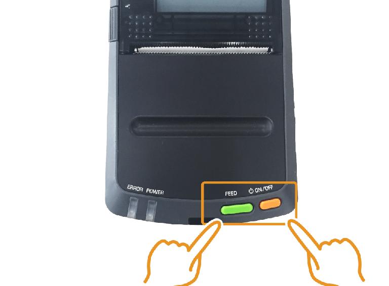 セイコーインスツル・モバイルレシートプリンター:FFEDと電源ボタンを押す
