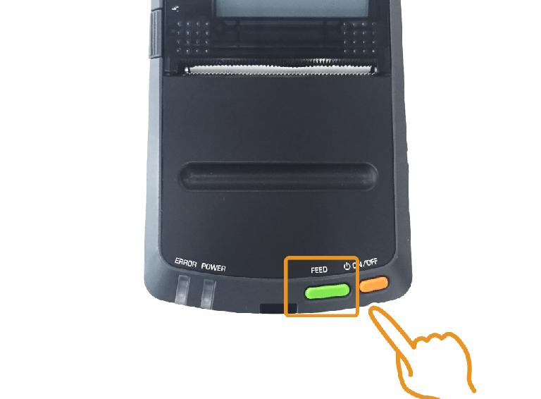 セイコーインスツル・モバイルレシートプリンター:FEEDスイッチを押す