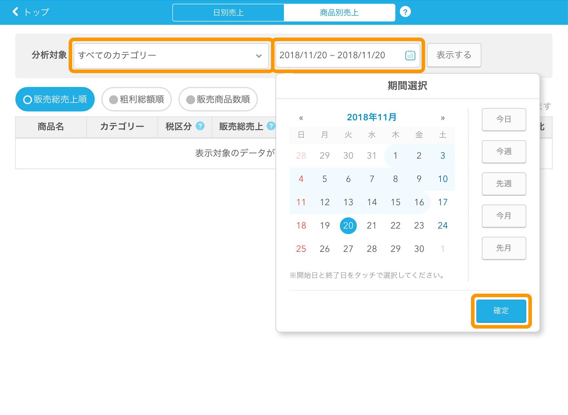 Airレジ 商品別売上 確定